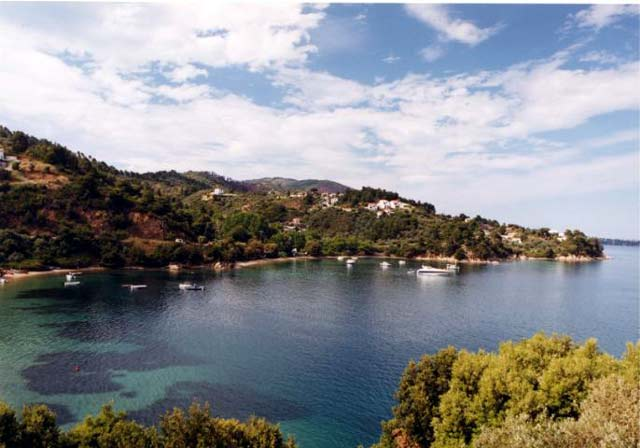 Banana Beach is located in the south west of skiathos close to the last bus stop and about 30 minutes from Skiathos Town. It is actually a collection of three s