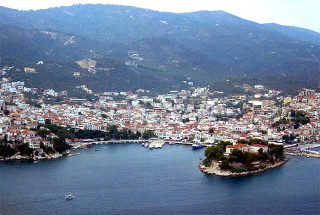 Panoramic view of Skiathos town from above